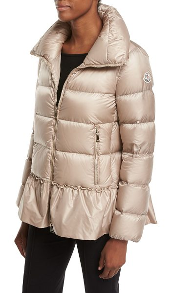"Moncler Anet Quilted Puffer Jacket in medium beige - Moncler ""Anet"" quilted puffer jacket with ruffled trim...."