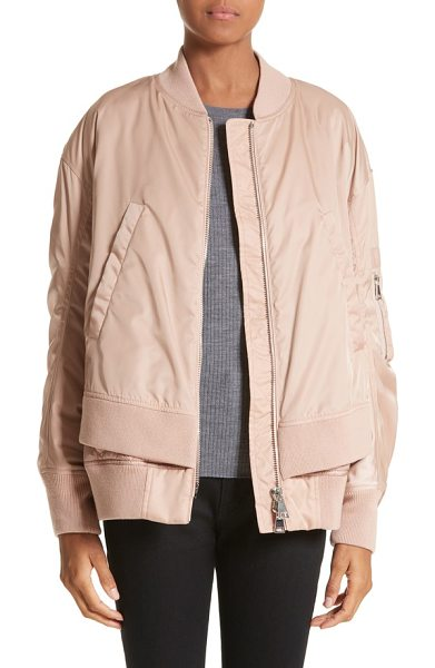 Moncler aralia layered bomber jacket in pink - This sporty bomber jacket reaches a new level of cool...