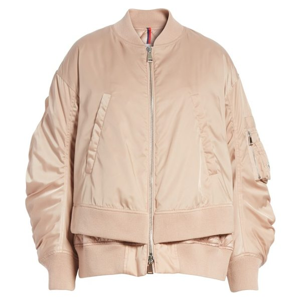 Moncler aralia layered bomber jacket in pink