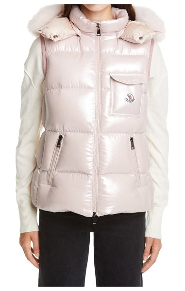Moncler balabio metallic down puffer hooded vest with removable genuine blue fox fur trim in pink