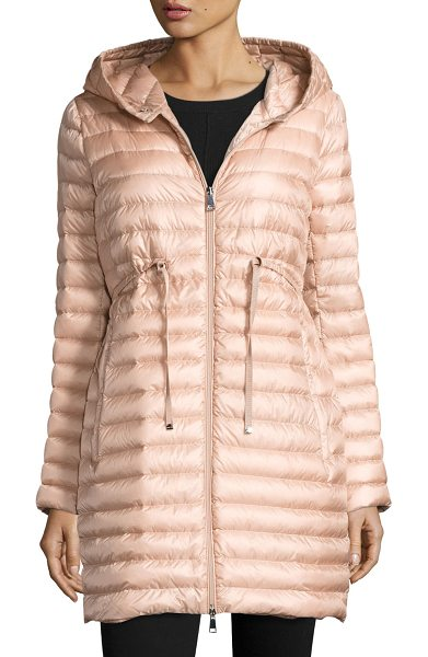 "Moncler Barbel Hooded Puffer Coat in blush - Moncler ""Barbel"" puffer coat. Approx. 33""L at back...."