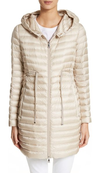 Moncler barbel water resistant long hooded down jacket in blush