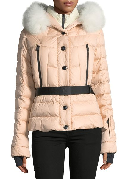 "Moncler Beverly Belted Quilted Puffer Coat with Fur Hood in blush 510 - Moncler ""Beverly"" quilted puffer coat with padding...."