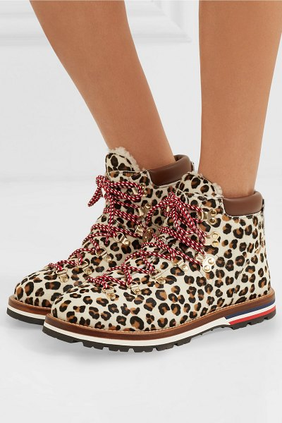Moncler blanche shearling-lined calf hair ankle boots in leopard print