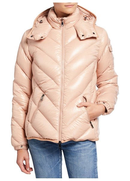 Moncler Brouel Chevron Nylon Laque Down Quilted Jacket with Attached Hood in pink