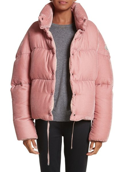 Moncler cercis velvet quilted down puffer coat in pink - Part of Moncler's Floral Issue collection, which...