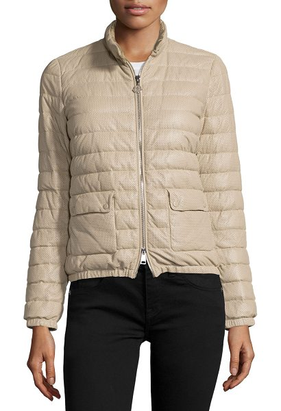 "MONCLER Delfi leather puffer jacket - Moncler ""Delfi"" quilted puffer jacket in soft-to-handle..."