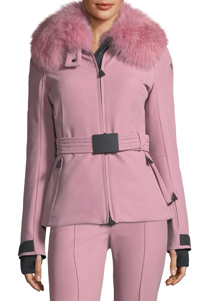 "Moncler Ecrins Long-Sleeve Fur-Collar Jacket in light pink - Moncler ""Ecrins"" jacket in stretch-knit with dyed fox..."