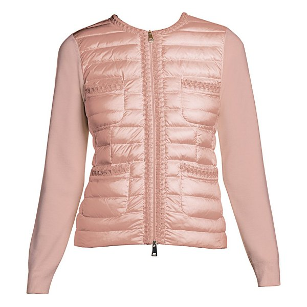 Moncler knit & down combo zip cardigan in pink
