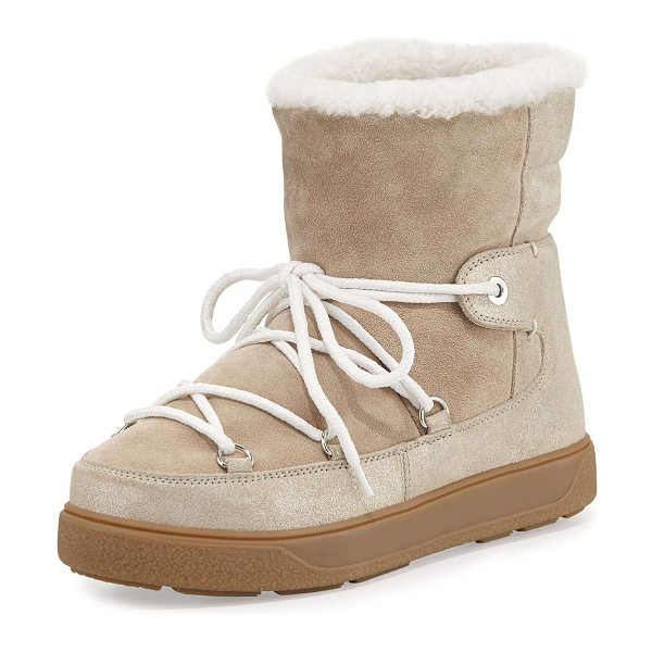 Moncler Fanny shearling-lined lace-up boot in beige - Moncler suede ankle boot. Dyed sheep shearling (Italy)...