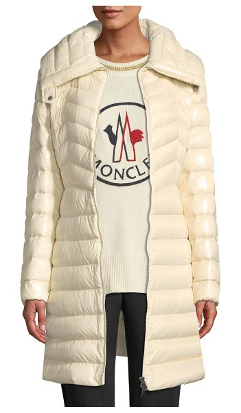 "Moncler Faucon Fitted Puffer Coat in stone - Moncler ""Faucon"" fitted puffer coat. Spread collar;..."