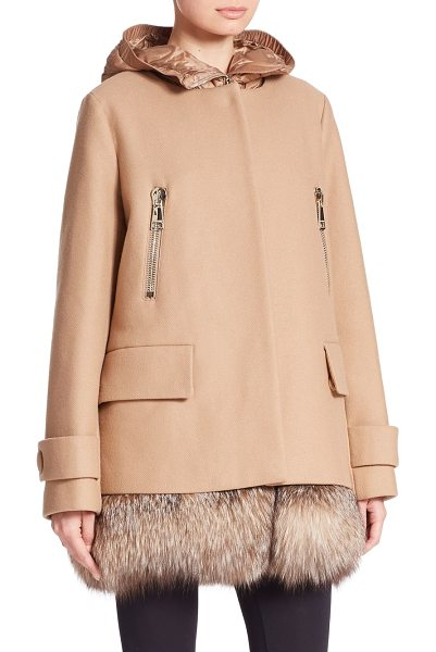 MONCLER Fenelon two-piece fur-trimmed jacket in camel - A sporty quilted vest trimmed with fox fur meets a...