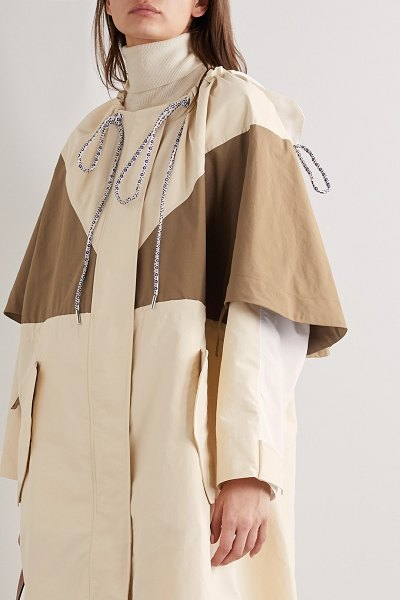 Moncler Genius 2 moncler 1952 violets oversized hooded layered shell parka in beige