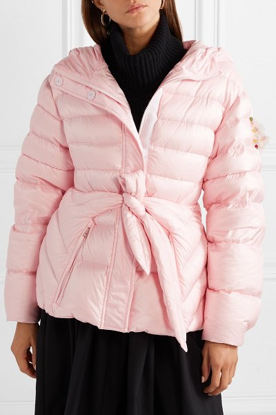 Moncler Genius 4 simone rocha embellished belted shell down jacket in pastel pink
