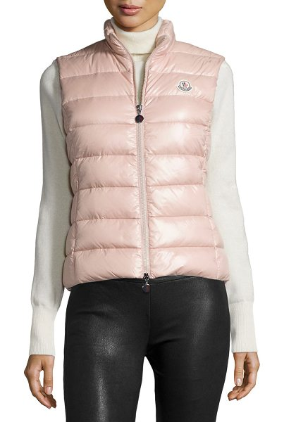 "Moncler Ghany Shiny Quilted Puffer Vest in light pink - Moncler ""Ghany"" shiny quilted puffer vest. High collar;..."