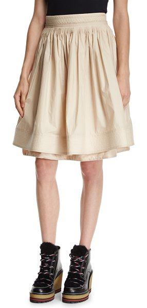MONCLER High-Waist Pleated Circle Skirt - Moncler pleated skirt with tonal trapunto stitching....