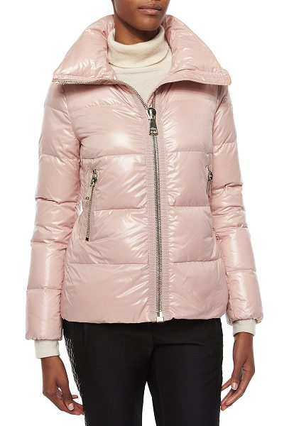 "Moncler Joux high-neck puffer jacket in light pink - Moncler ""Joux"" puffer jacket. Funnel collar; front zip...."