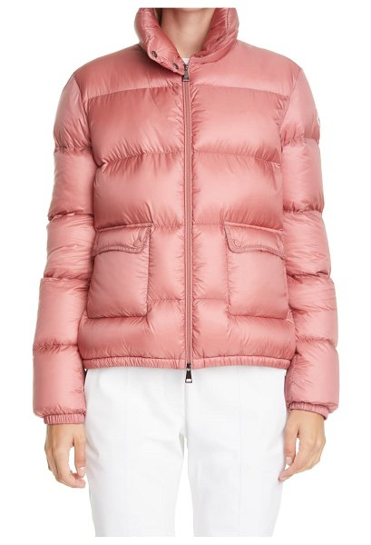 Moncler lannic water resistant lightweight down puffer jacket in pink