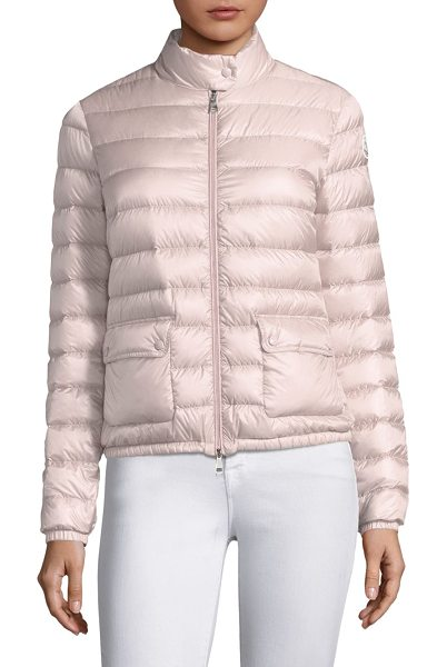 Moncler lans puffer jacket in pastelpink - Short puffer jacket in zip-front style. Stand collar....