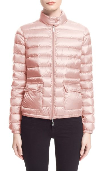 Moncler 'lans' water resistant short down jacket in pastel pink - Exceptionally lightweight direct-inject down-and-feather...