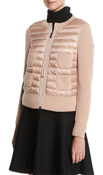 """Moncler Maglia Combo Waffle-Knit Puffer Jacket in blush - Moncler """"Maglia"""" waffle-knit combo jacket with quilted..."""
