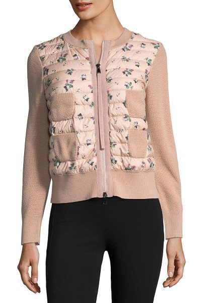 """Moncler Maglia Floral-Printed Knit Jacket w/ Puffer in pink - Moncler """"Maglia"""" knit jacket with a floral-printed..."""