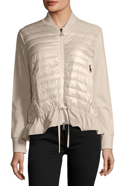 """Moncler Maglia Knit Puffer Combo Jacket w/ Peplum Hem in blush - Moncler """"Maglia"""" combo knit jacket with quilted puffer..."""