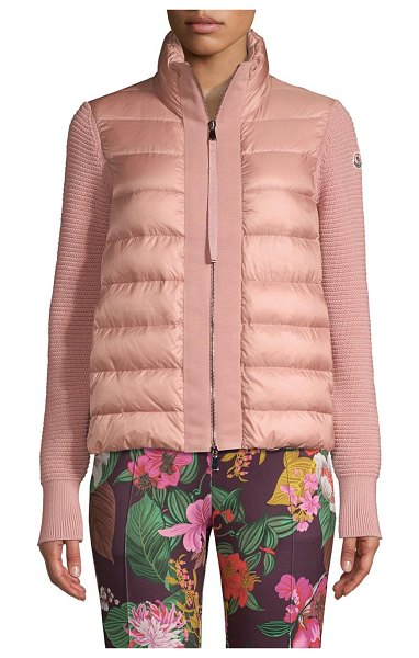 Moncler maglia mixed media cardigan in rose - Long puffy cardigan reflects Moncler's upscale sporty...