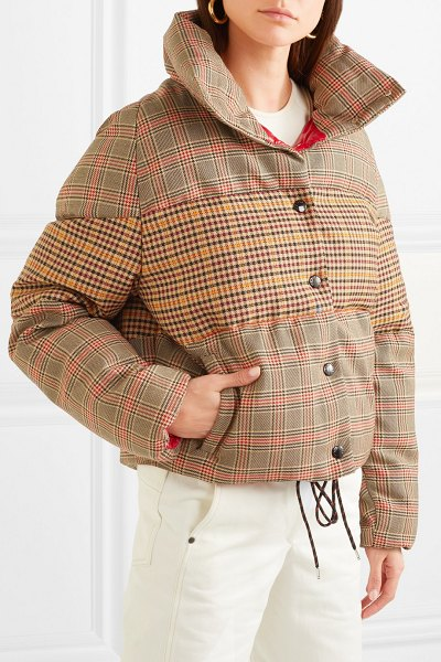 c0d2ae35bd85 Moncler Paneled Checked Quilted Wool-Blend Down Jacket
