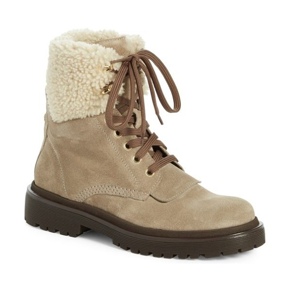 Moncler patty scarpa genuine shearling cuff boot in bright beige - Plush shearling trims the cuff of a stylish,...