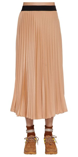 Moncler Pleated crepè de chine skirt in pink blush