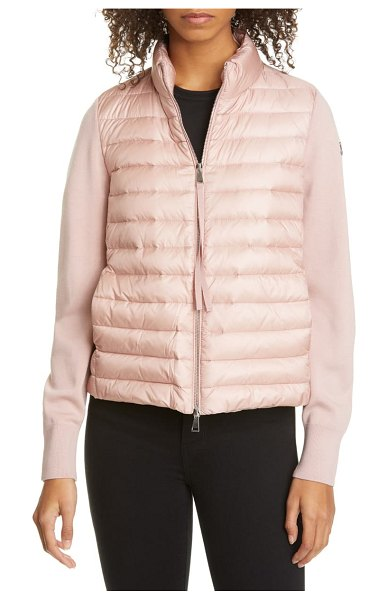 Moncler quilted down & wool short jacket in pink