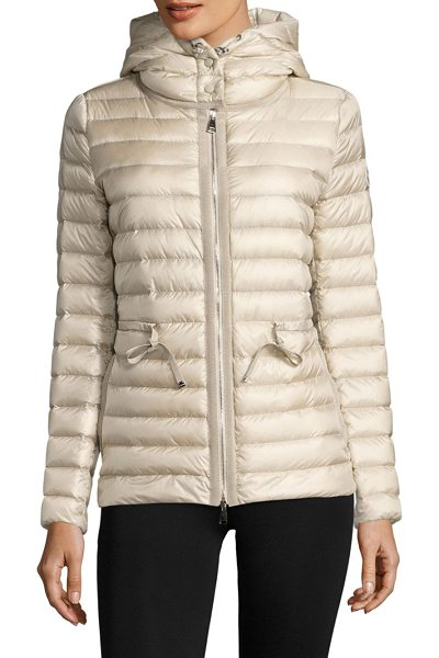 Moncler raie hooded down puffer jacket in champagne - Hooded channel-quilted puffer cinched at the waist....