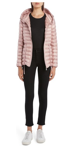 Moncler raie tie waist hooded lightweight down jacket in pink