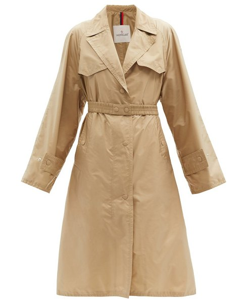 Moncler rutilicus belted shell trench coat in tan