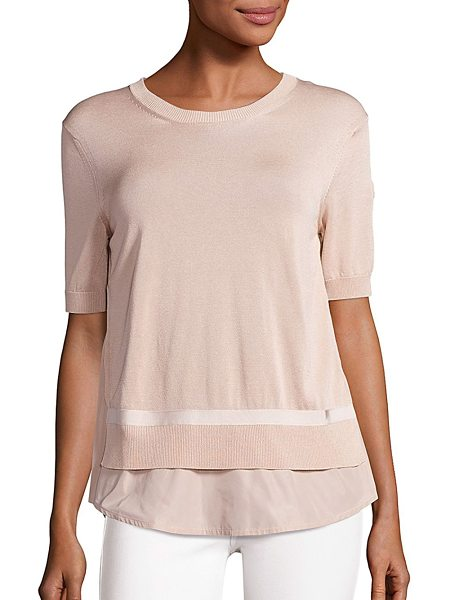 Moncler short-sleeve knit top in natural - Ribbed trim details this short-sleeve top. Roundneck....