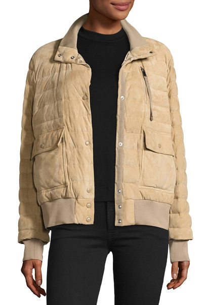 "Moncler Sile Quilted Suede Jacket in beige - Moncler ""Sile"" jacket in sheep suede with ribbed trim...."