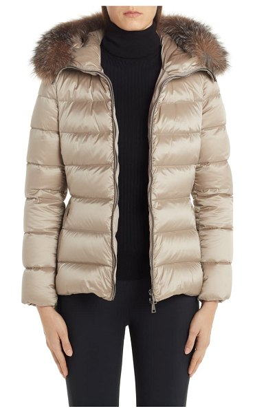 Moncler tati belted down puffer coat with removable genuine fox fur trim in beige