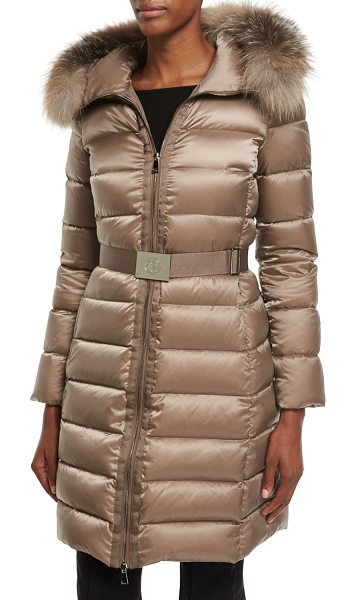"Moncler Tinuviel Shiny Quilted Puffer Coat w/Fur Hood in light beige - Moncler ""Tinuviel"" shiny quilted puffer coat. Hooded..."