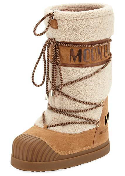 Moncler Venus Shearling Fur Moon Boot in light beige - Moncler suede moon boot with dyed lamb shearling (Italy)...