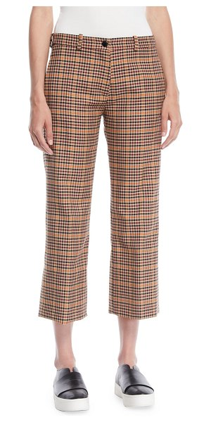 Moncler Wool-Blend Check Ankle Pants in brown - Moncler wool-blend pants woven in check. Button/zip fly...