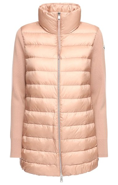 Moncler Wool knit & nylon down jacket in pink
