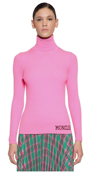 Moncler Wool rib knit sweater in pink