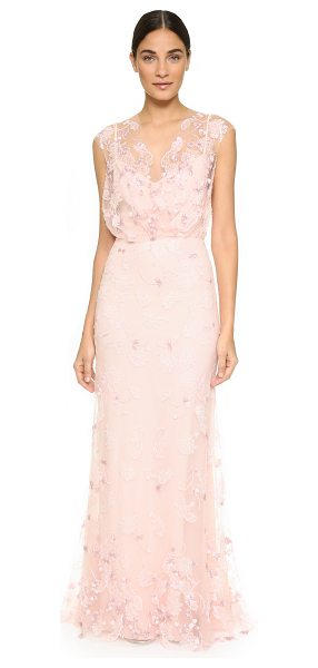 Monique Lhuillier Bridesmaids Beaded blouson gown in light pink - A romantic mesh Monique Lhuillier gown with delicate...