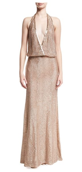 Monique Lhuillier Bridesmaids Beaded Deep-V Halter Gown in pink metallic - Monique Lhuillier beaded tulle gown. Deep V halter...