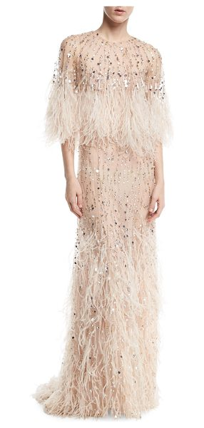 Monique Lhuillier Bridesmaids Beaded Ostrich Feather Gown in pink - Monique Lhuillier beaded tulle gown with cascading...
