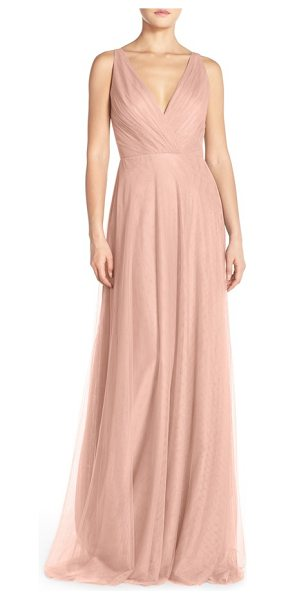 Monique Lhuillier Bridesmaids back cutout pleat tulle gown in shell - Fine pleating at the decollete bodice begins the softly...