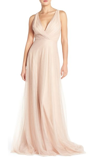 Monique Lhuillier Bridesmaids back cutout pleat tulle gown in sand - Fine pleating at the decollete bodice begins the softly...