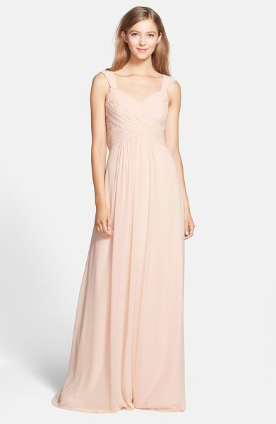 Monique Lhuillier Bridesmaids cowl back chiffon gown in blush - Graceful pleating crisscrosses to sculpt the sweetheart...