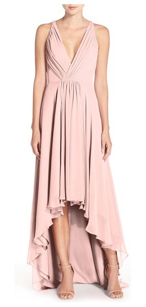 Monique Lhuillier Bridesmaids deep v-neck chiffon high/low gown in shell - Plunging necklines make lovely focal points for a dreamy...